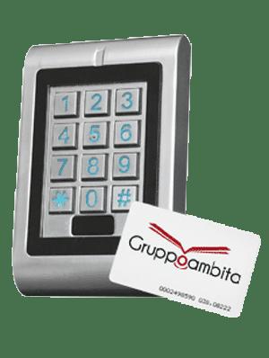 Lettore RFID con tastierino e sistema antivandalo per controllo accessi uso interno ed esterno GTA12
